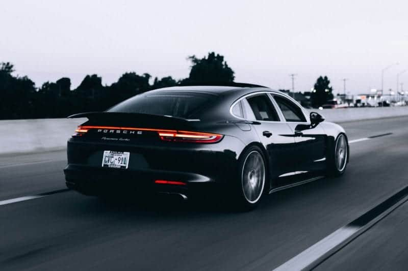 Sleek black Porsche