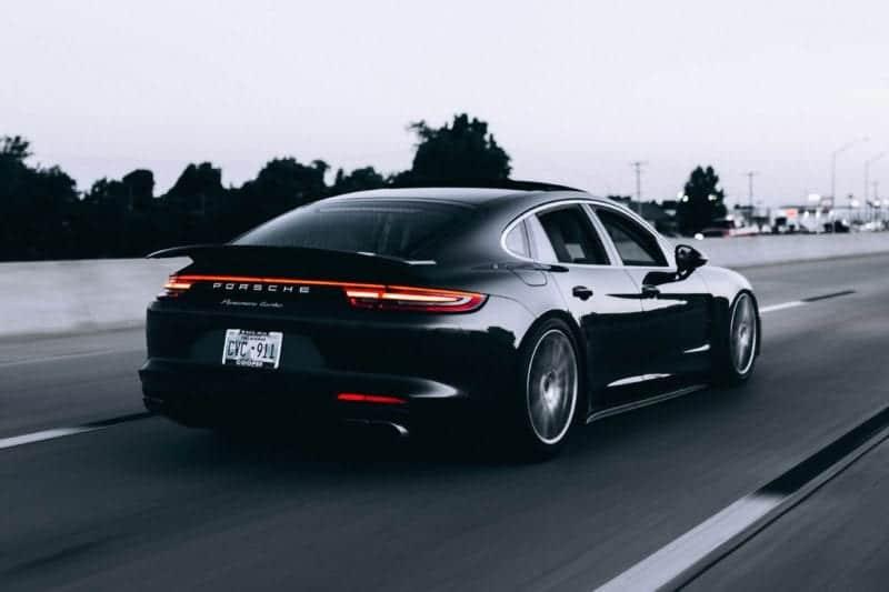 Sleek black Porsche